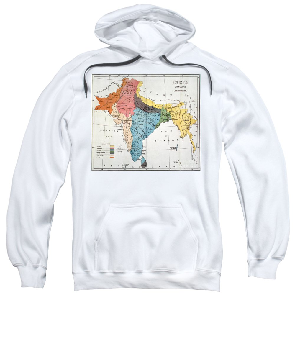 Aod Sweatshirt featuring the painting India: Map, 19th Century by Granger