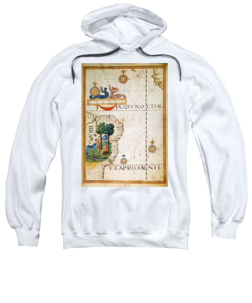 1565 Sweatshirt featuring the painting Brazil: Map And Native Indians by Granger