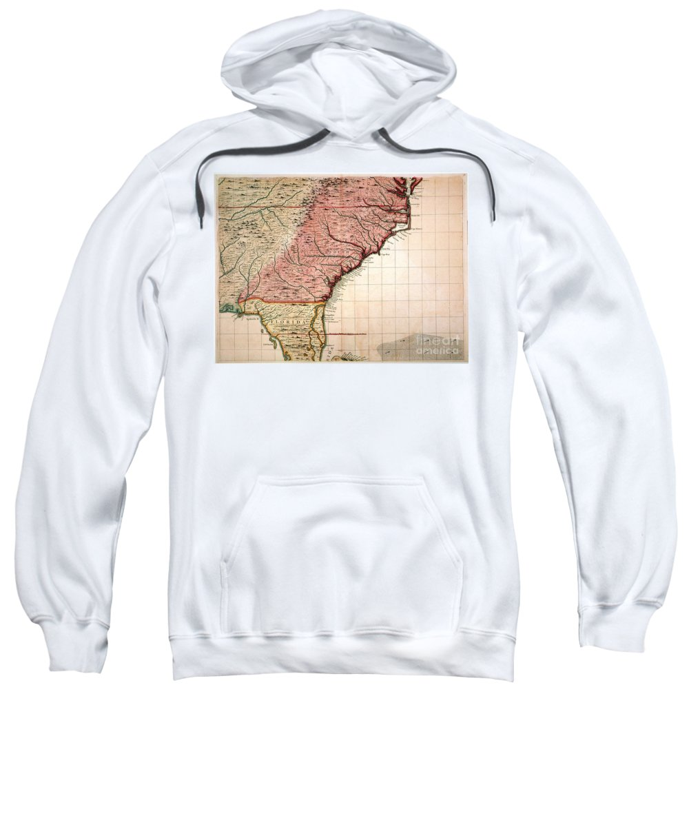 1733 Sweatshirt featuring the painting Colonial America Map, 1733 by Granger