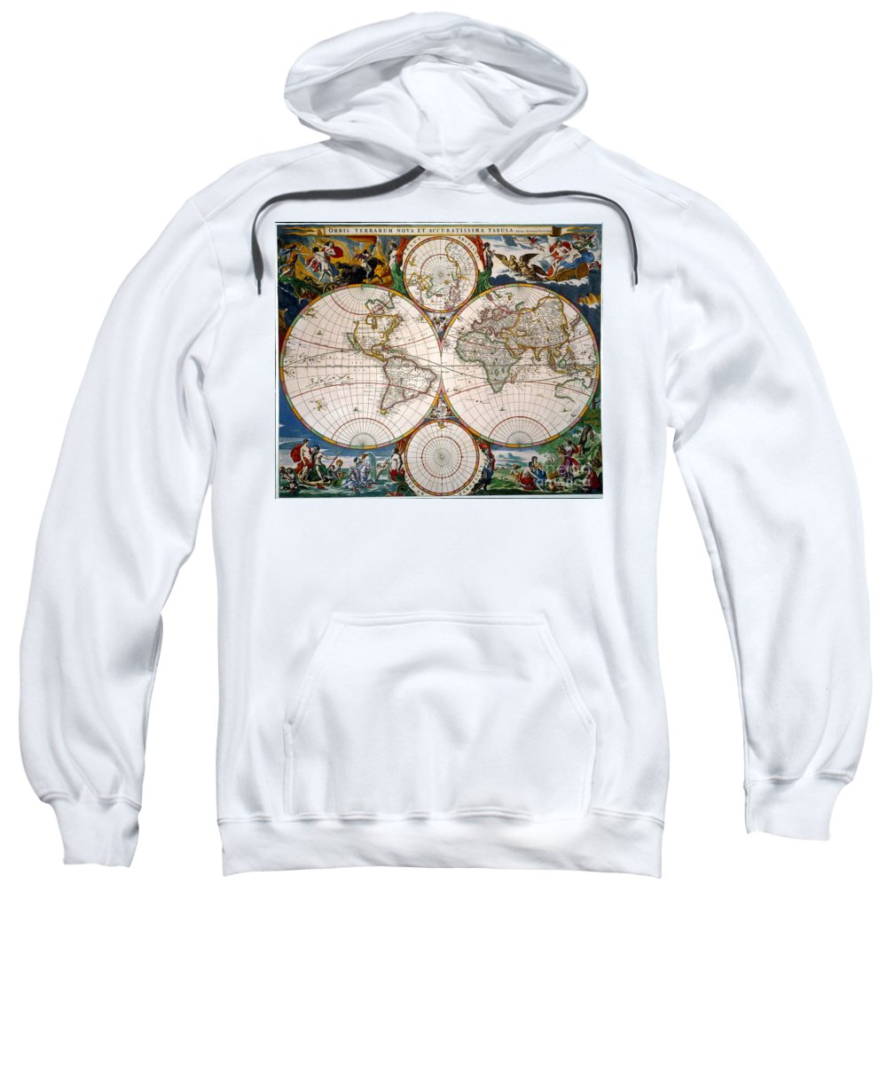 Aod Sweatshirt featuring the painting World Map, 17th Century by Granger