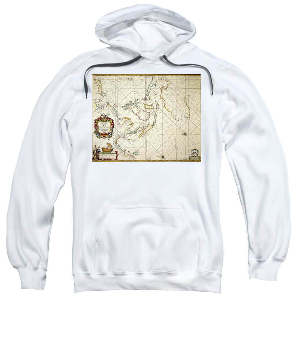 1670 Sweatshirt featuring the painting Map: East Indies, 1670 by Granger