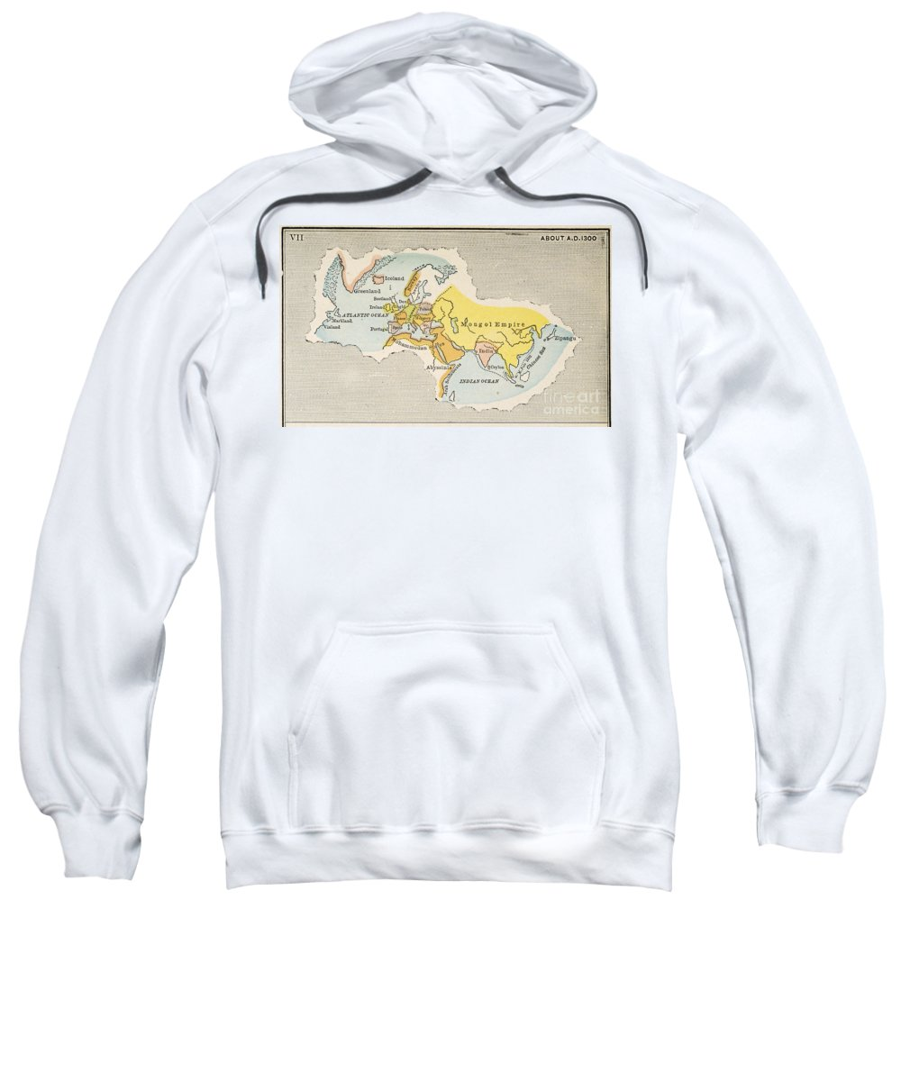 1300 Sweatshirt featuring the painting World Map, C1300 by Granger
