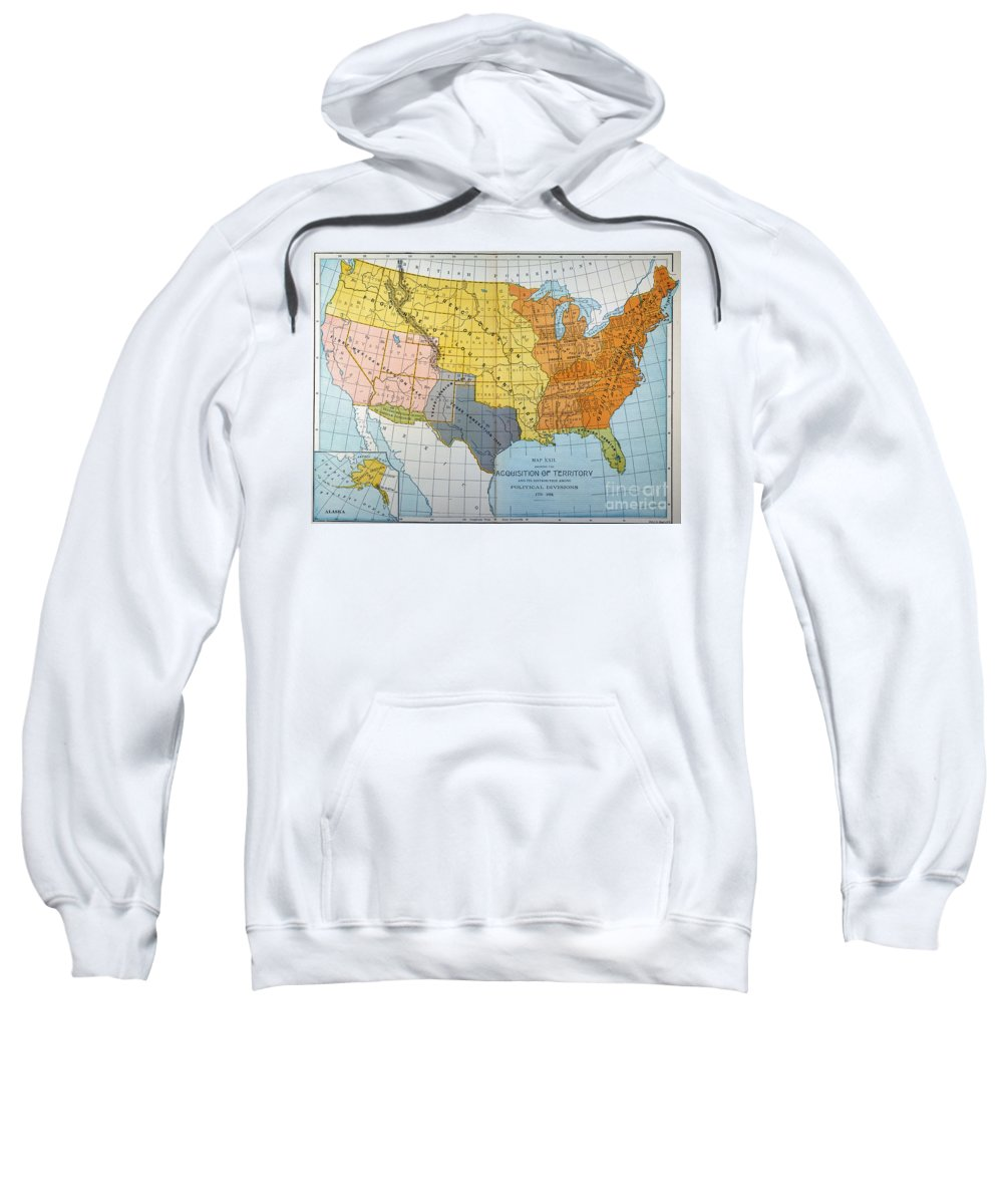 1776 Sweatshirt featuring the painting U.s. Map, 1776/1884 by Granger