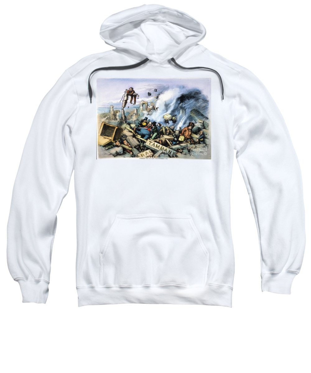 1871 Sweatshirt featuring the painting Nast: Tweed Ring Downfall by Granger