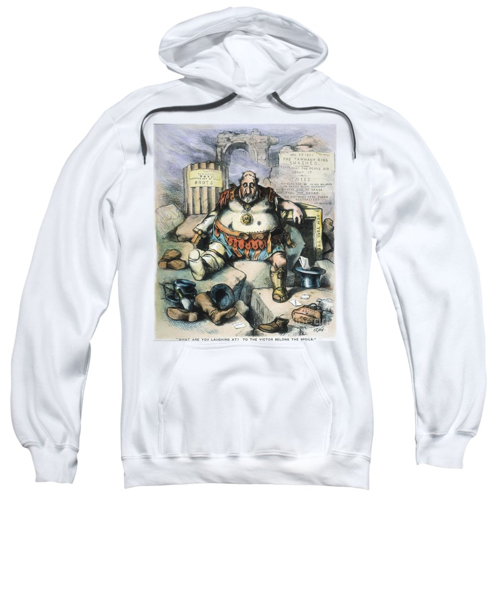 1871 Sweatshirt featuring the painting Nast: Tweed's Downfall by Granger