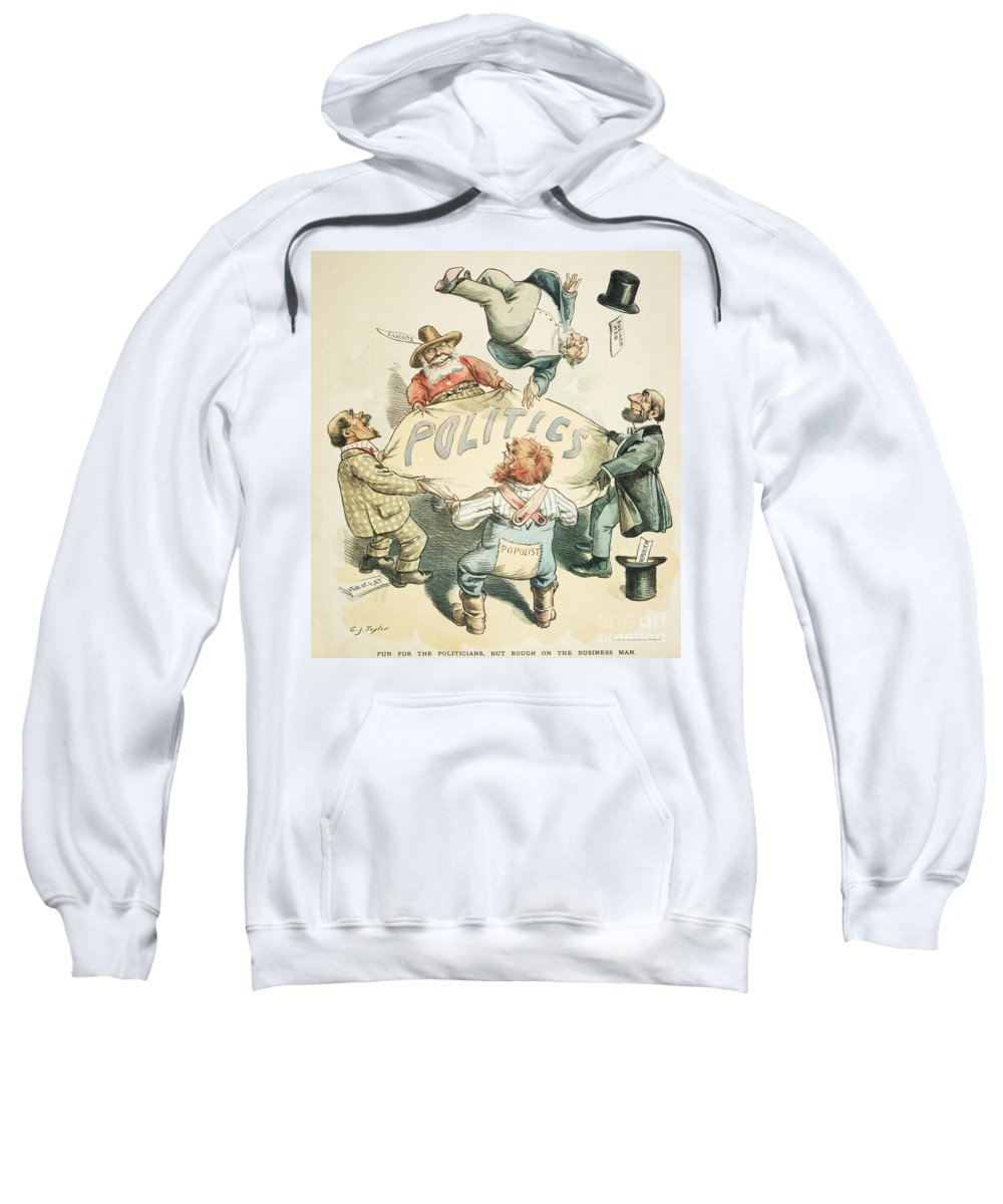 1896 Sweatshirt featuring the painting U.s. Cartoon: Businessman by Granger