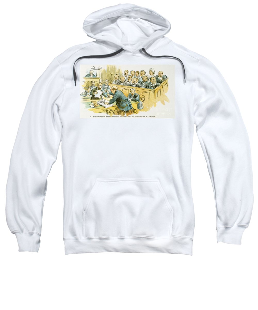 1896 Sweatshirt featuring the painting Litigation Cartoon by Granger