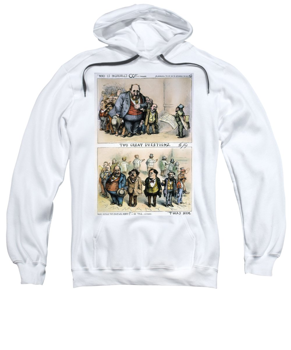 1871 Sweatshirt featuring the painting Nast: Tweed Corruption by Granger