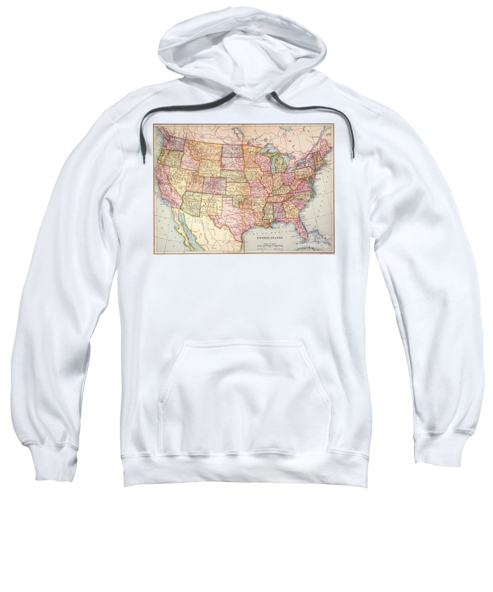 1905 Sweatshirt featuring the painting Map: United States, 1905 by Granger