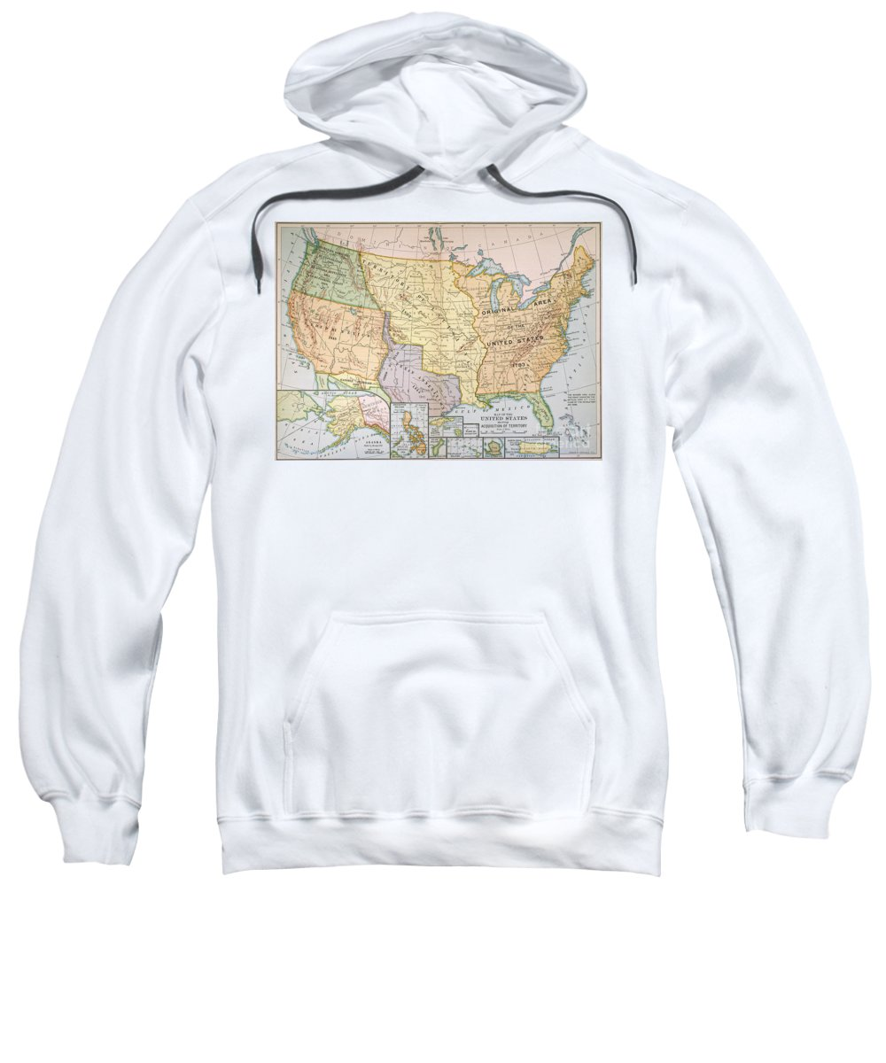 1905 Sweatshirt featuring the painting Map: U.s. Expansion, 1905 by Granger