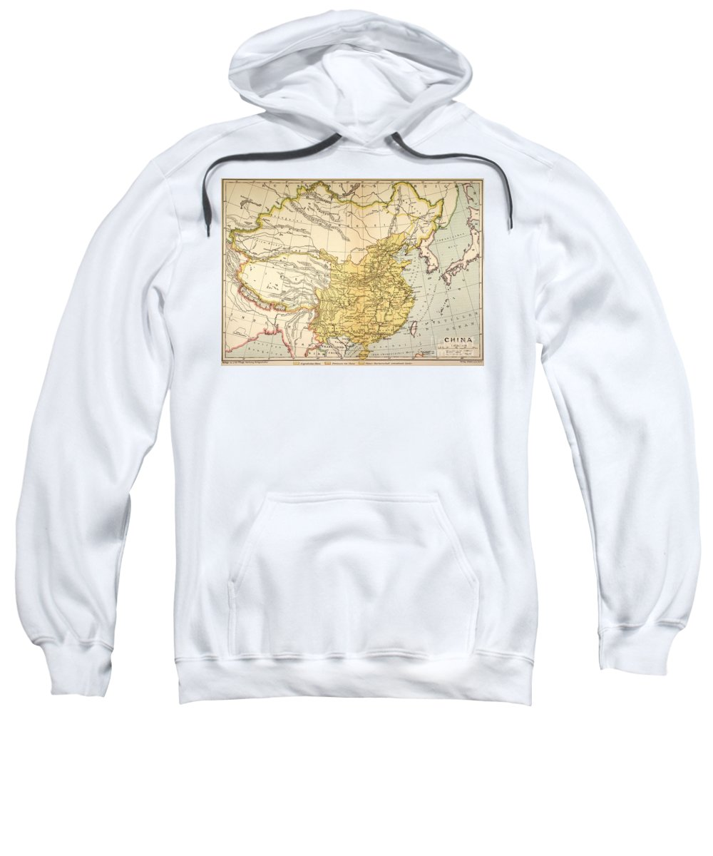 1910 Sweatshirt featuring the painting Map: China, 1910 by Granger