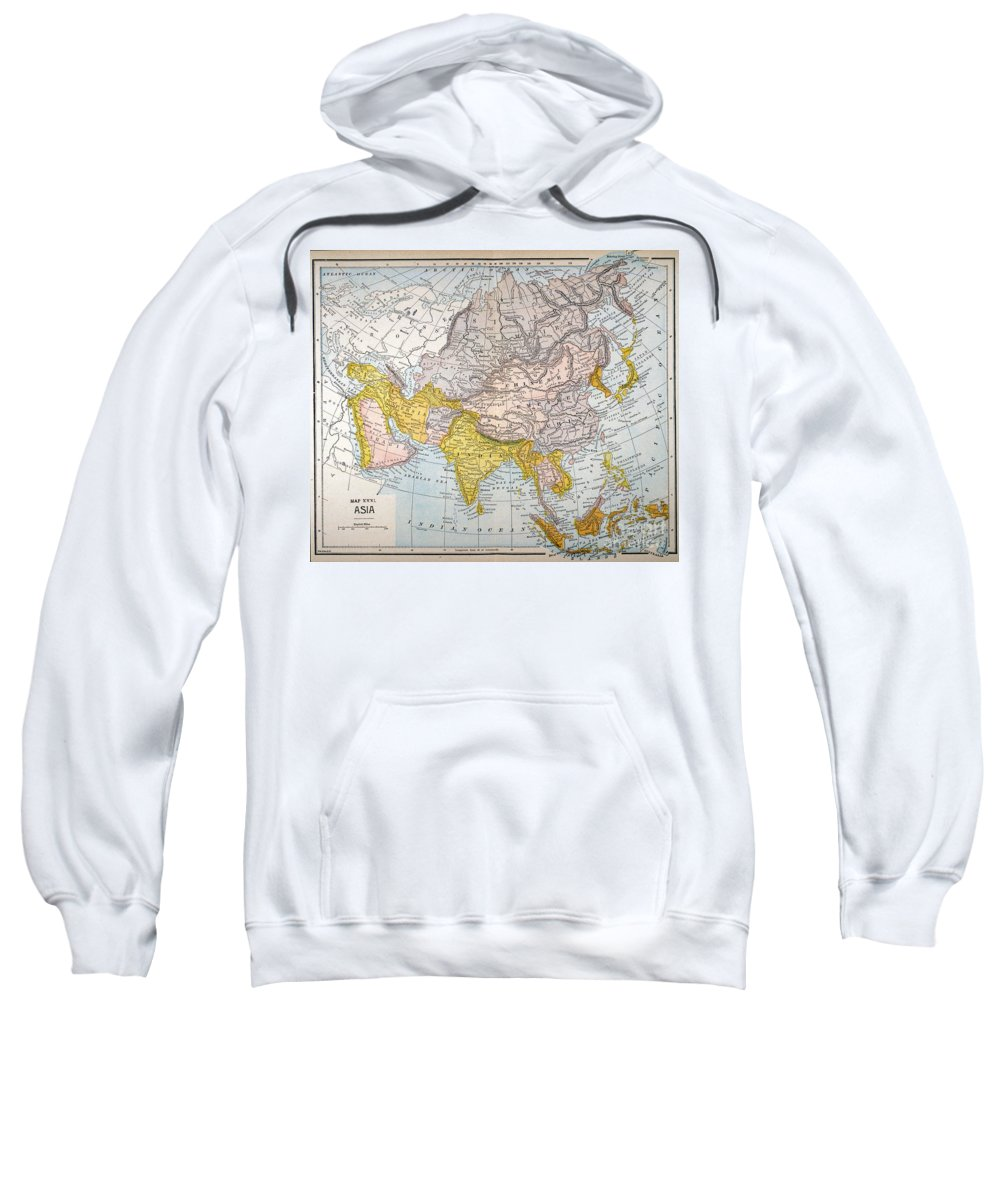 19th Century Sweatshirt featuring the painting Asia Map Late 19th Century by Granger