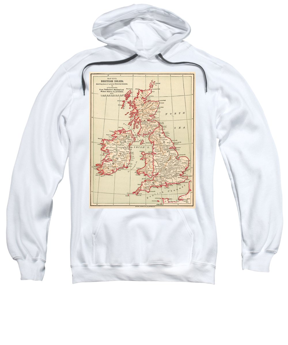 1890 Sweatshirt featuring the painting Map: British Isles, C1890 by Granger