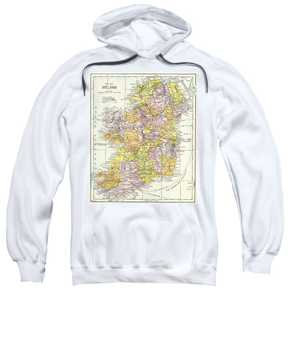 1890 Sweatshirt featuring the painting Map: Ireland, C1890 by Granger