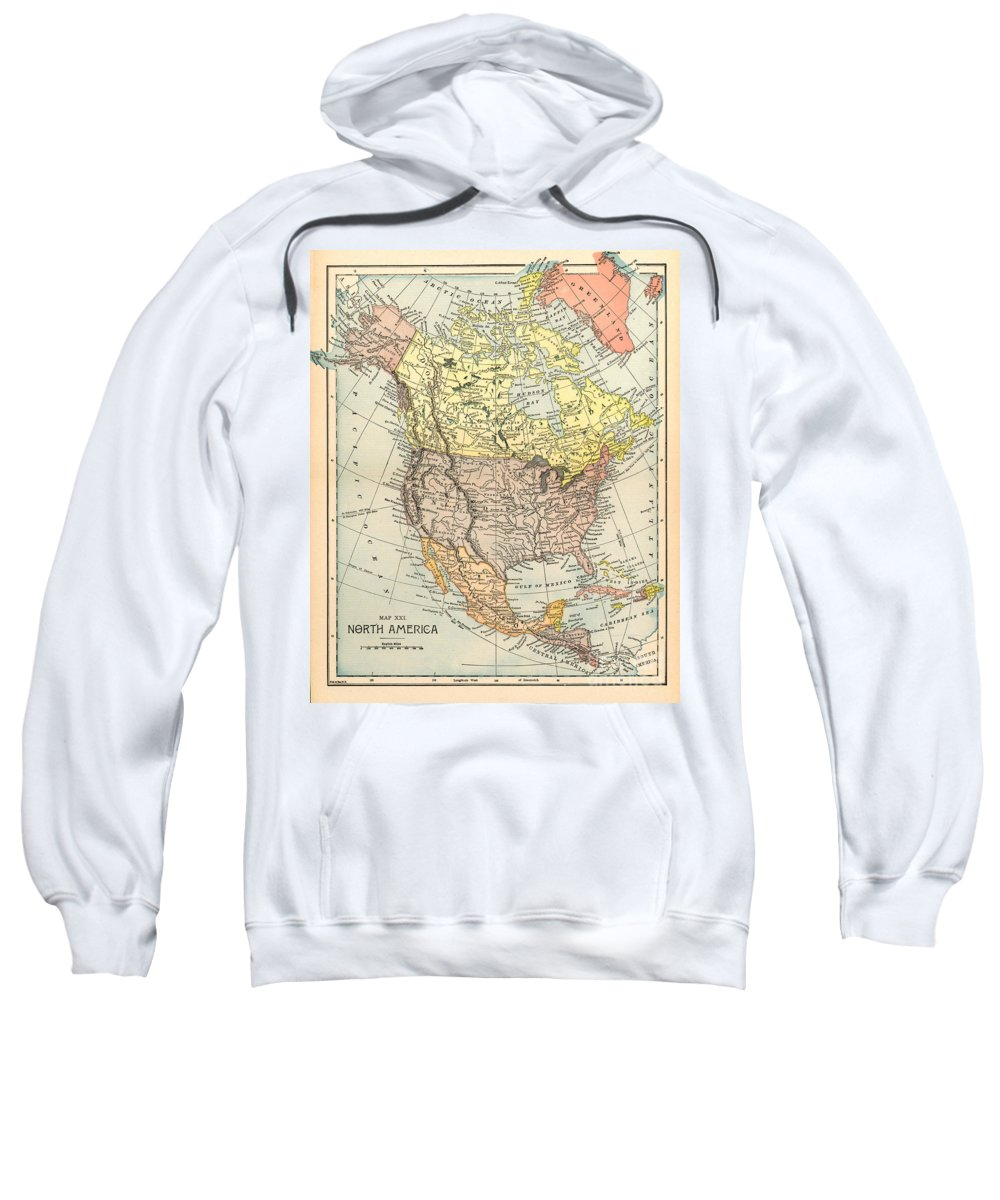 1890 Sweatshirt featuring the painting Map: North America, 1890 by Granger