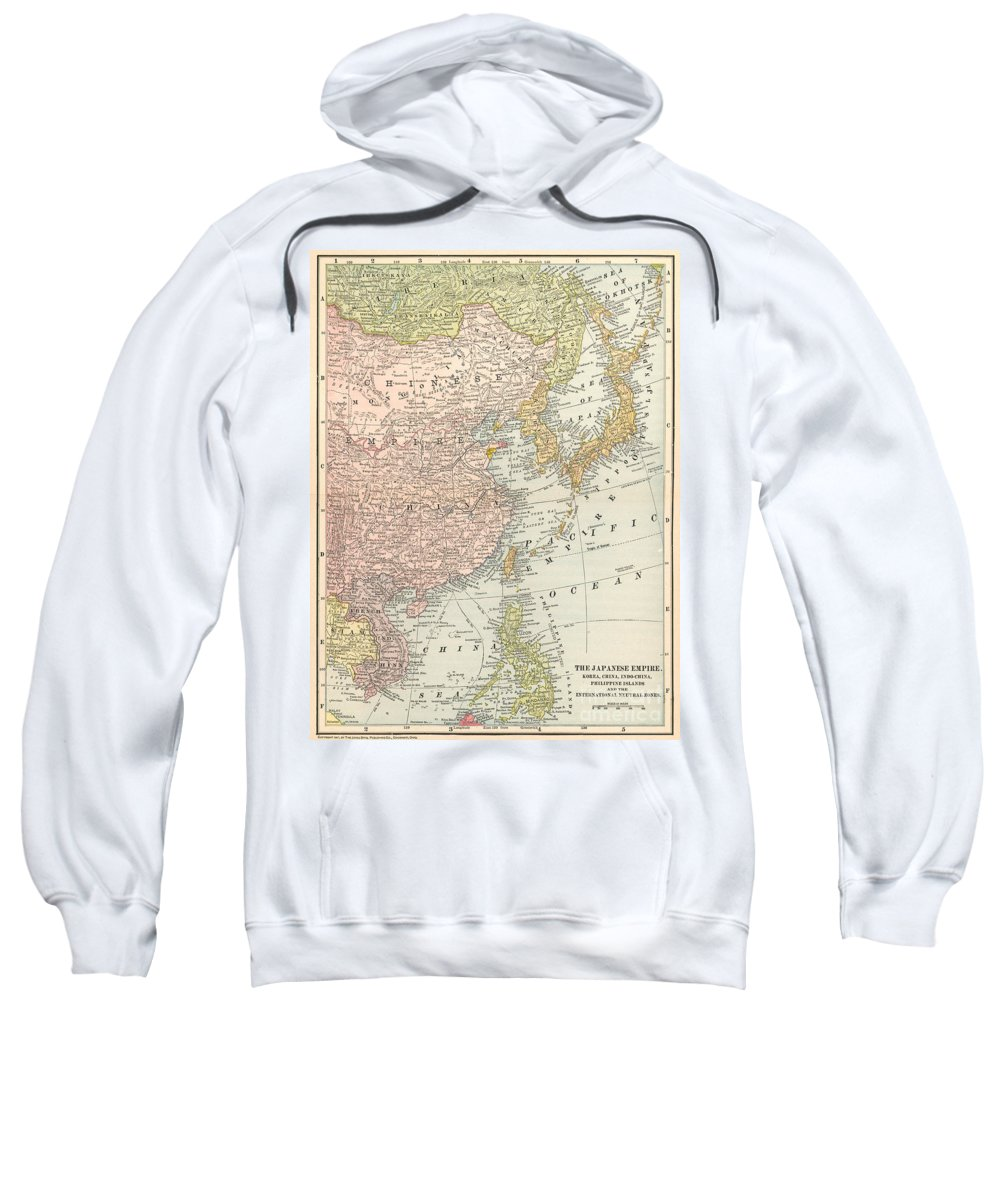1907 Sweatshirt featuring the painting Map: East Asia, 1907 by Granger