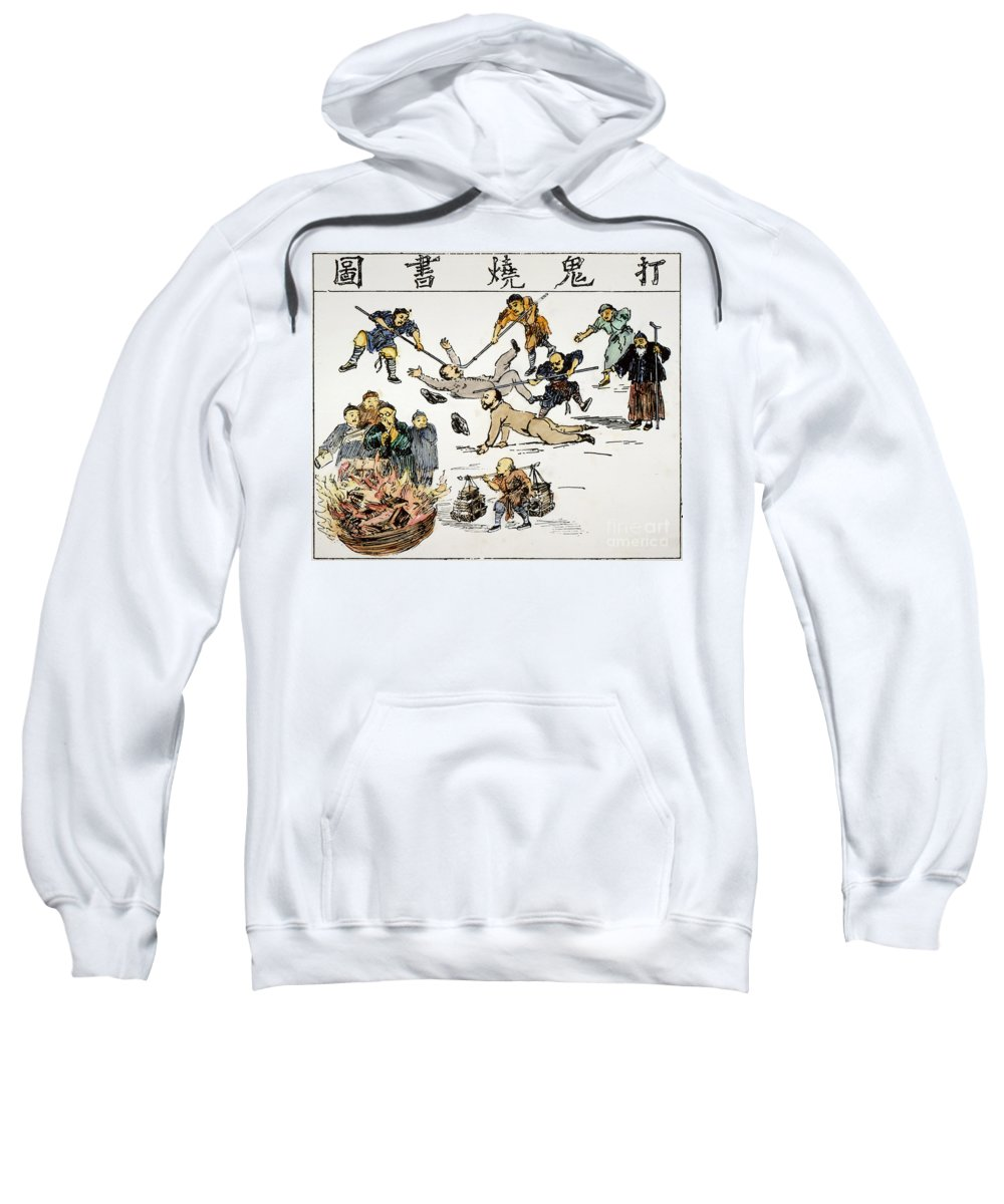 1890 Sweatshirt featuring the painting China: Anti-west Cartoon by Granger