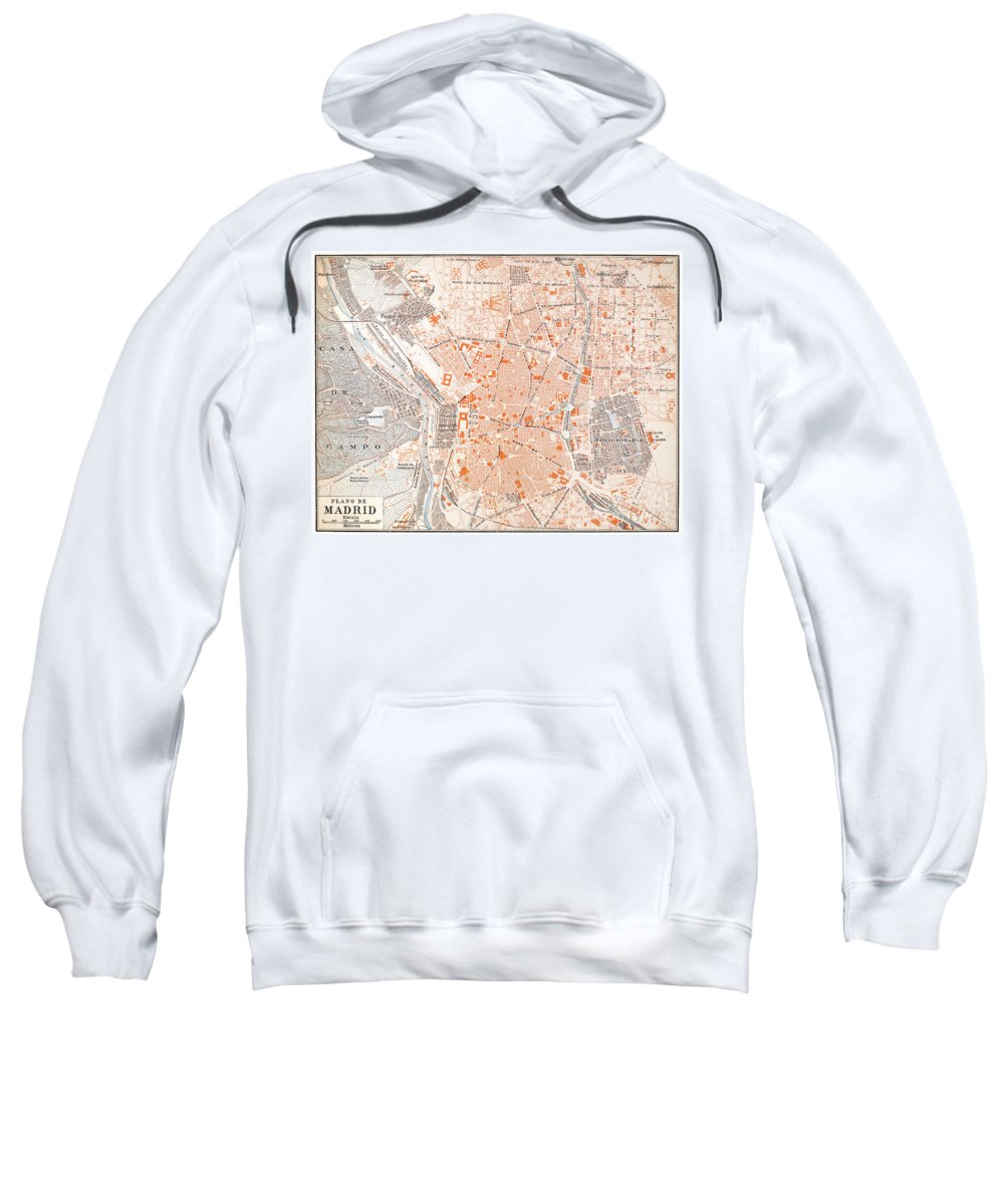 1920 Sweatshirt featuring the painting Spain: Madrid Map, C1920 by Granger