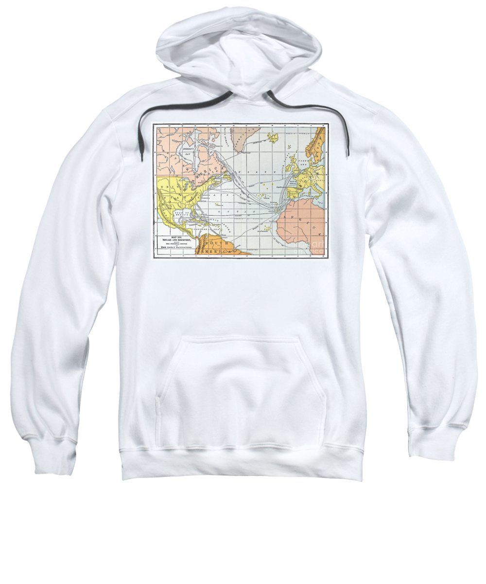11th Century Sweatshirt featuring the painting Map: Atlantic Voyages by Granger