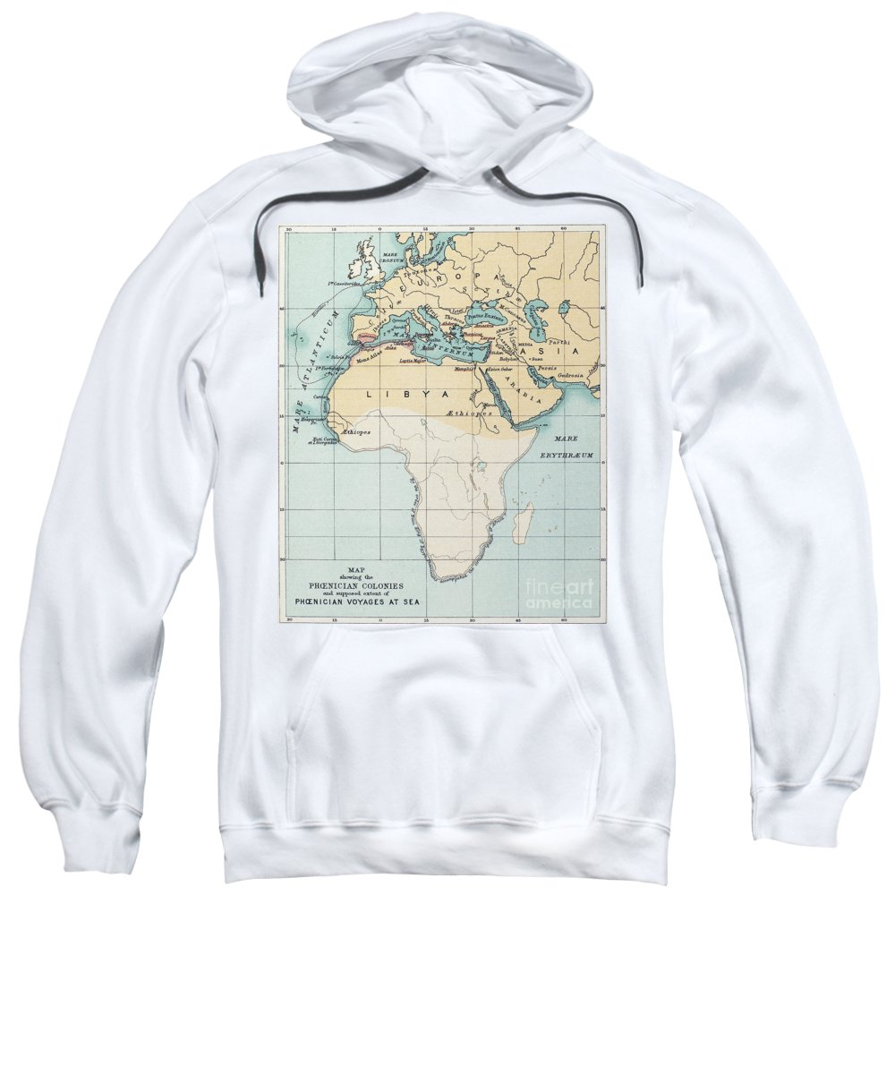 1st Millennium Bc Sweatshirt featuring the painting Map: Phoenician Empire by Granger