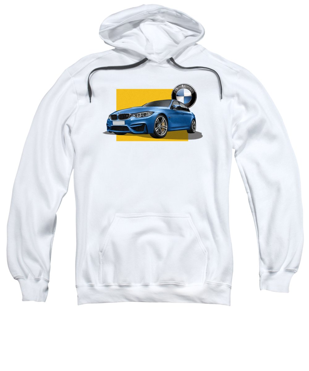 �bmw� Collection By Serge Averbukh Sweatshirt featuring the photograph 2016 B M W M 3 Sedan With 3 D Badge by Serge Averbukh