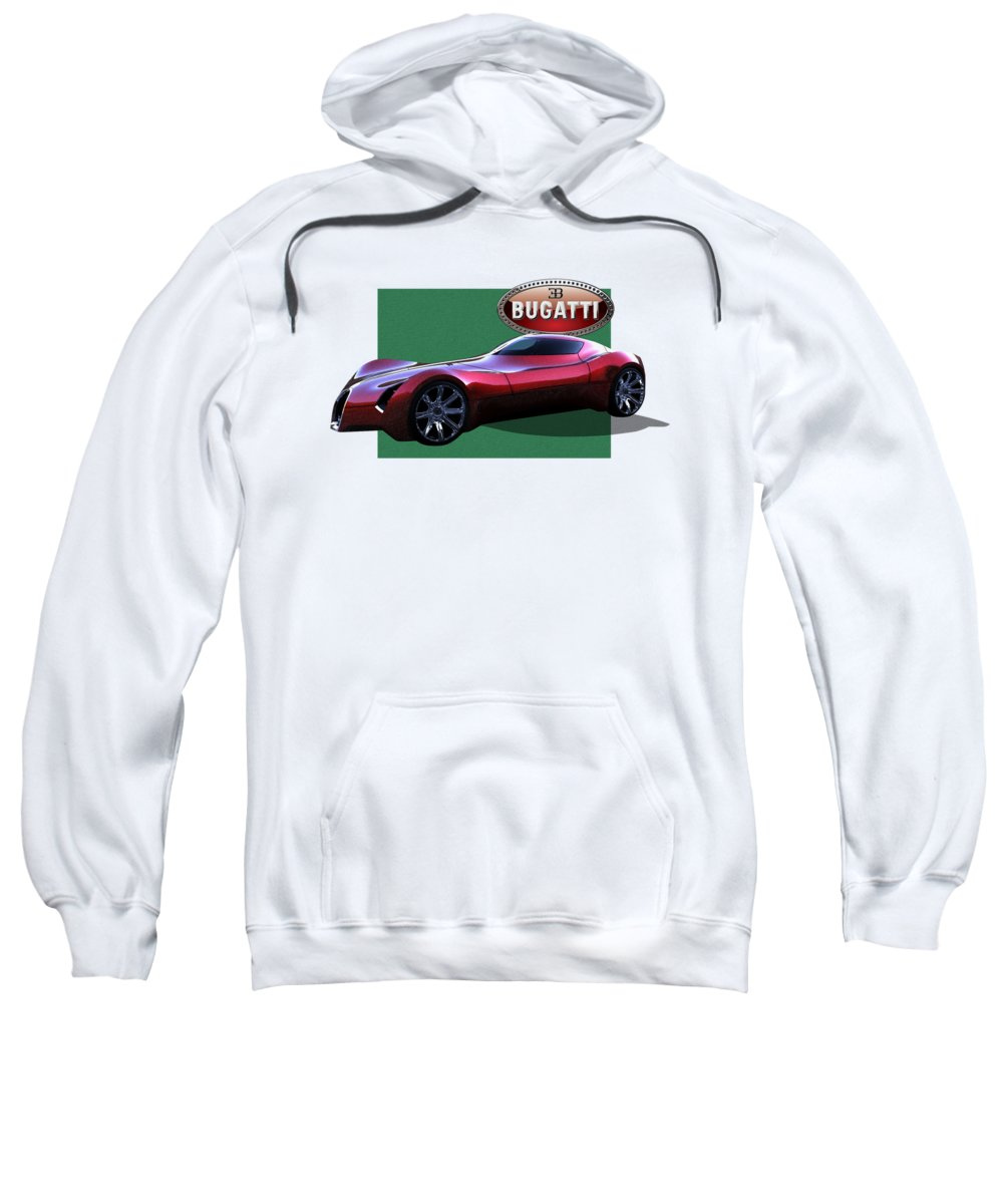 �bugatti� By Serge Averbukh Sweatshirt featuring the photograph 2025 Bugatti Aerolithe Concept With 3 D Badge by Serge Averbukh