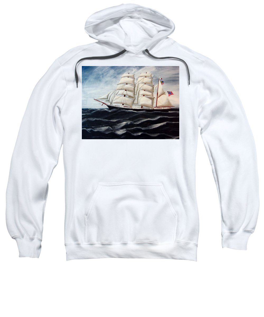Tall Ship Sweatshirt featuring the painting 3 Master Tall Ship by Richard Le Page