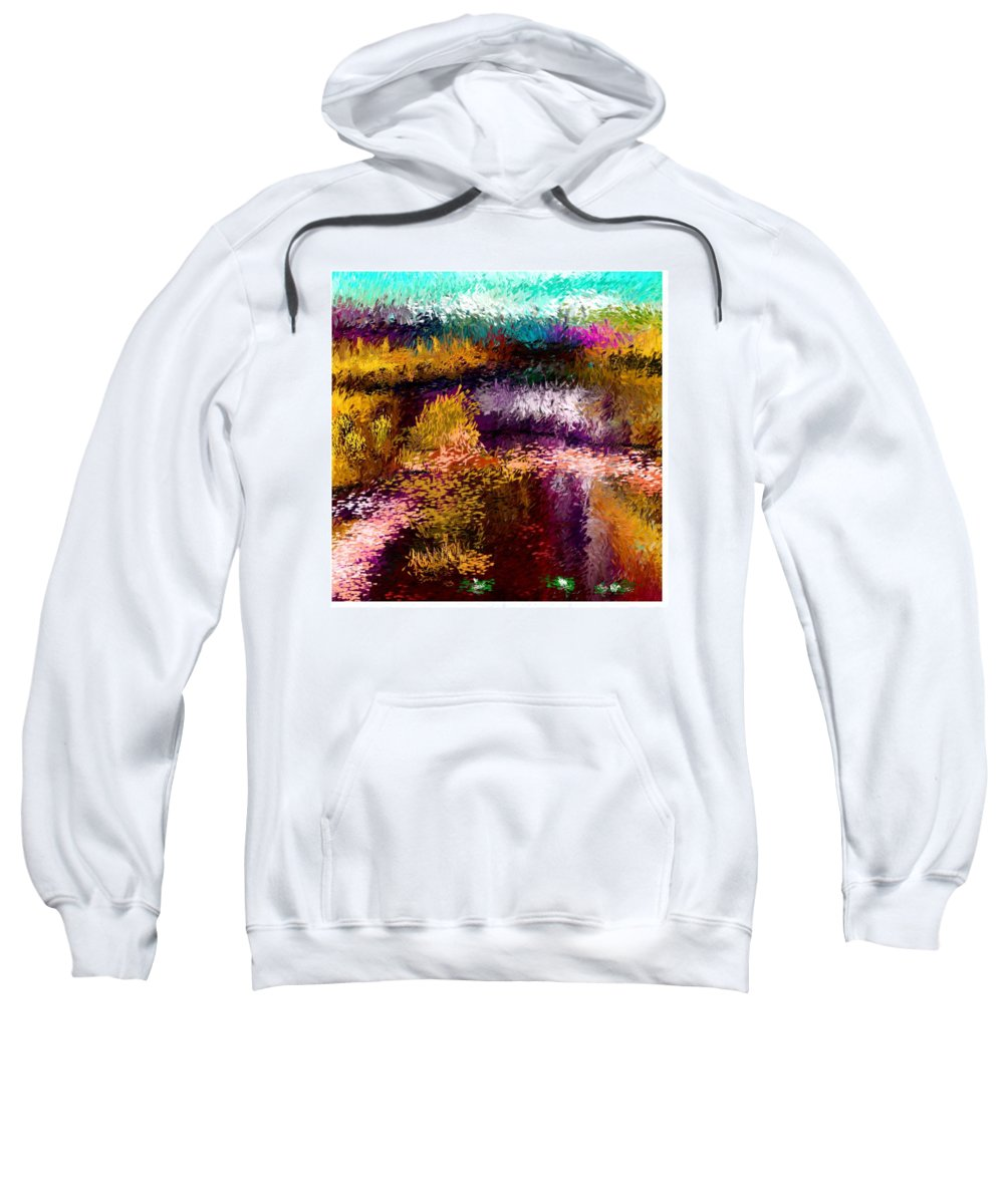 Digital Painting Sweatshirt featuring the digital art Aaw2- Evening At The Pond by David Lane