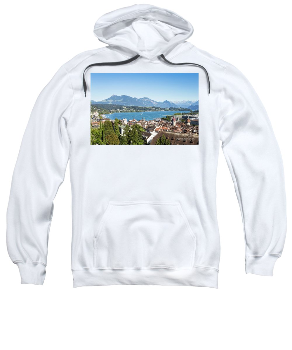 Europe Sweatshirt featuring the photograph Aerial View Of Lucerne In Switzerland. by Didier Marti