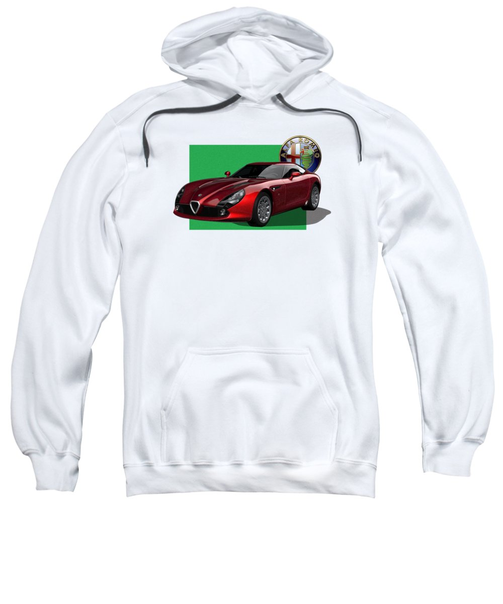 �alfa Romeo� By Serge Averbukh Sweatshirt featuring the photograph Alfa Romeo Zagato T Z 3 Stradale With 3 D Badge by Serge Averbukh