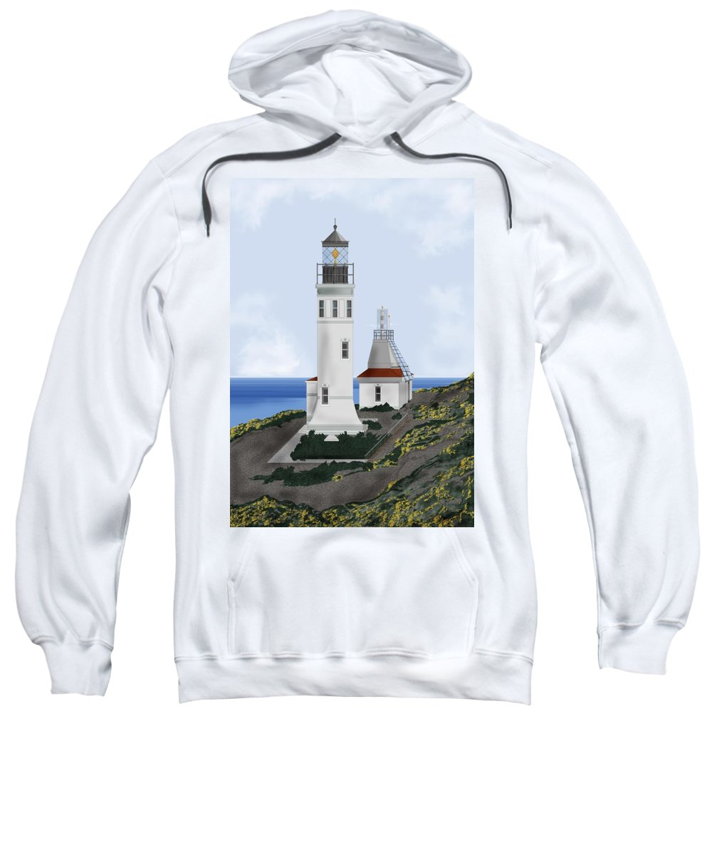 Lighthouse Sweatshirt featuring the painting Anacapa Lighthouse California by Anne Norskog