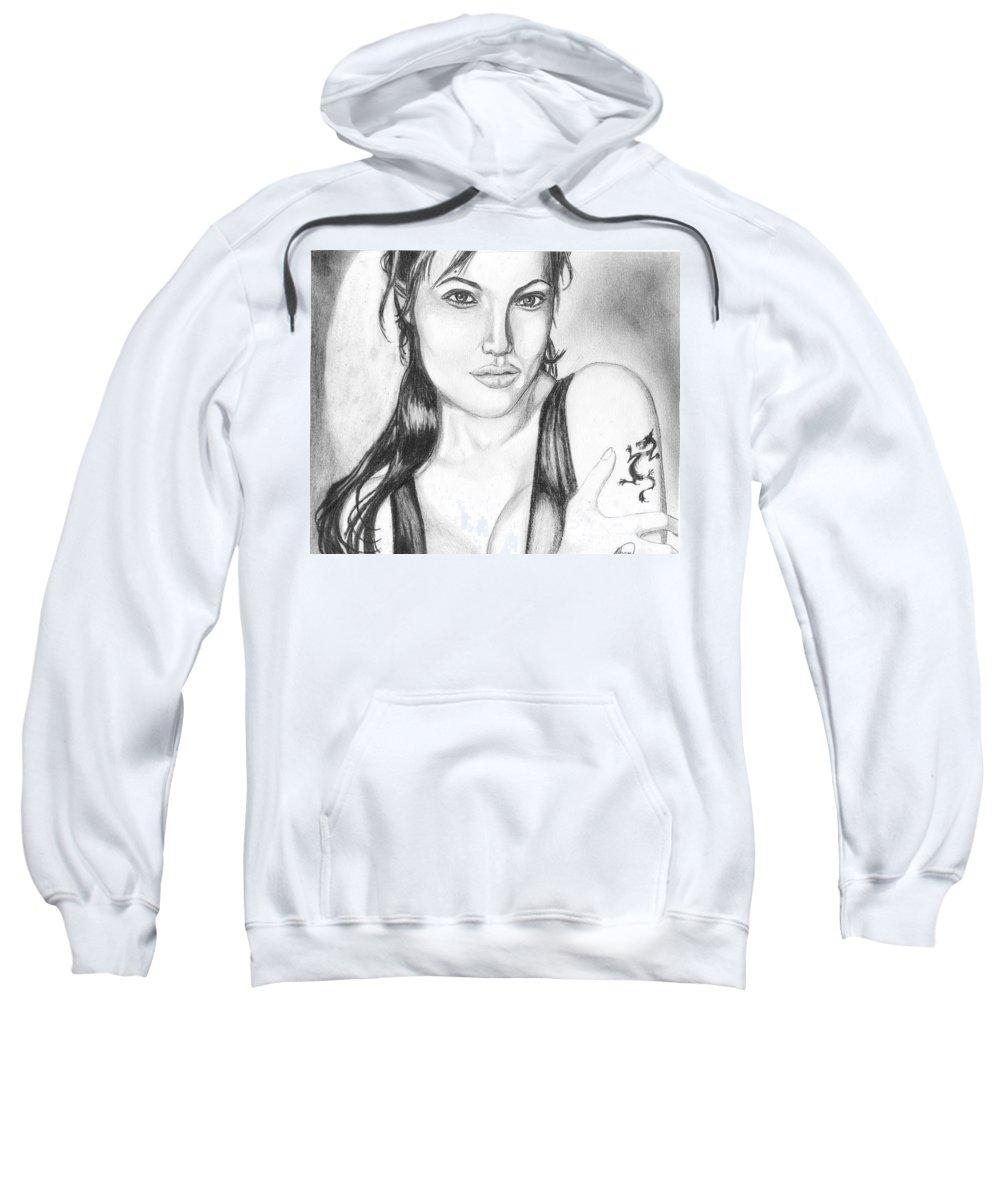 Portrait Sweatshirt featuring the drawing Angelina Jolie Portrait by Alban Dizdari