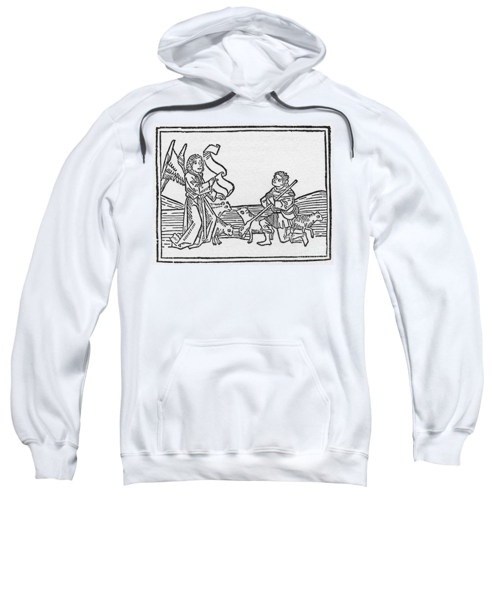 15th Century Sweatshirt featuring the drawing Annunciation To Shepherds by Granger