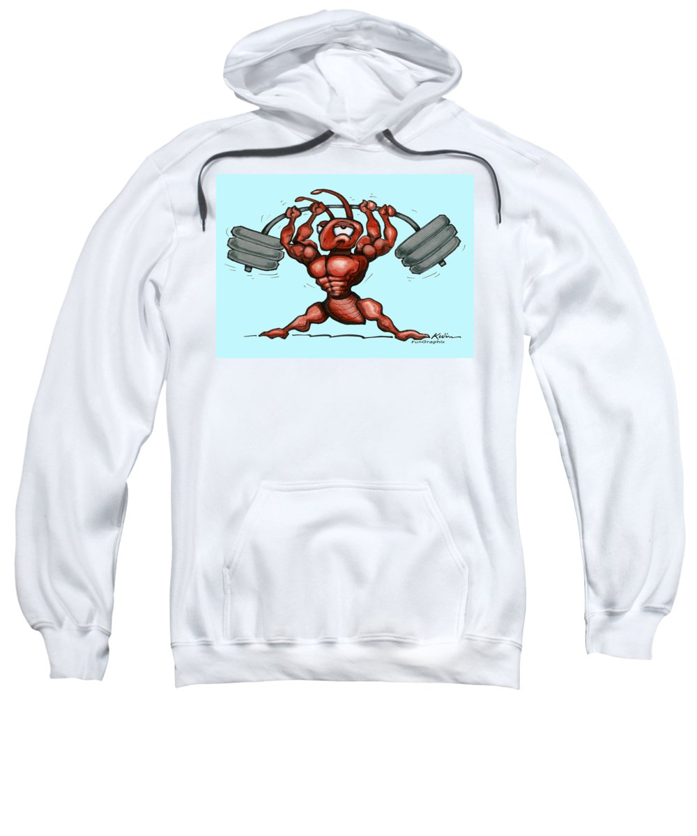 Gym Sweatshirt featuring the greeting card Ant by Kevin Middleton