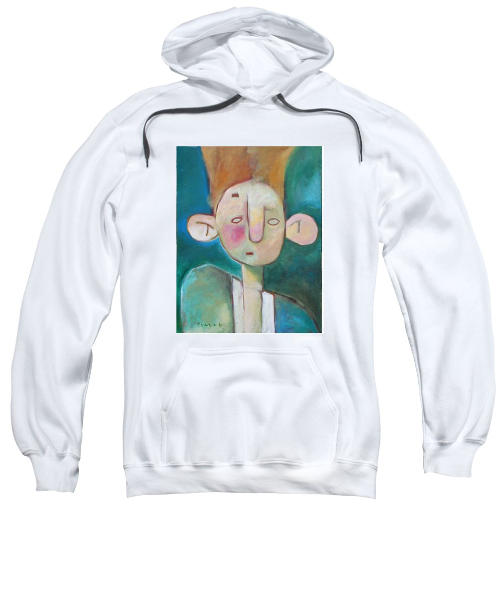 Funny Sweatshirt featuring the painting Bad Hair Life by Tim Nyberg