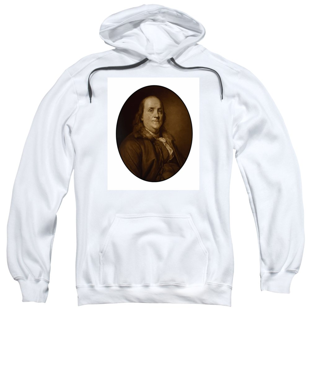 Benjamin Franklin Sweatshirt featuring the painting Benjamin Franklin - Three by War Is Hell Store