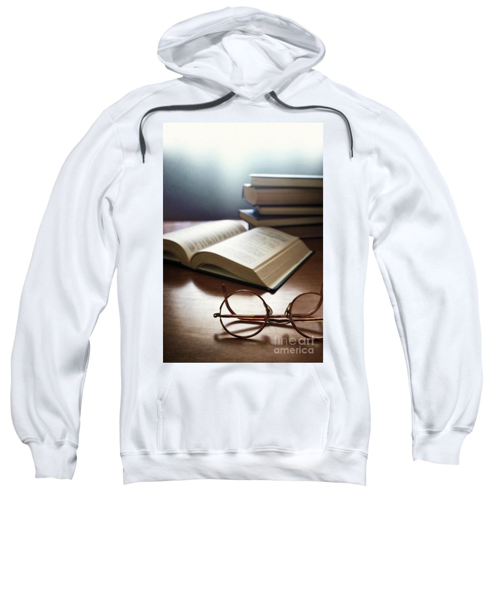 Antique Sweatshirt featuring the photograph Books And Glasses by Carlos Caetano