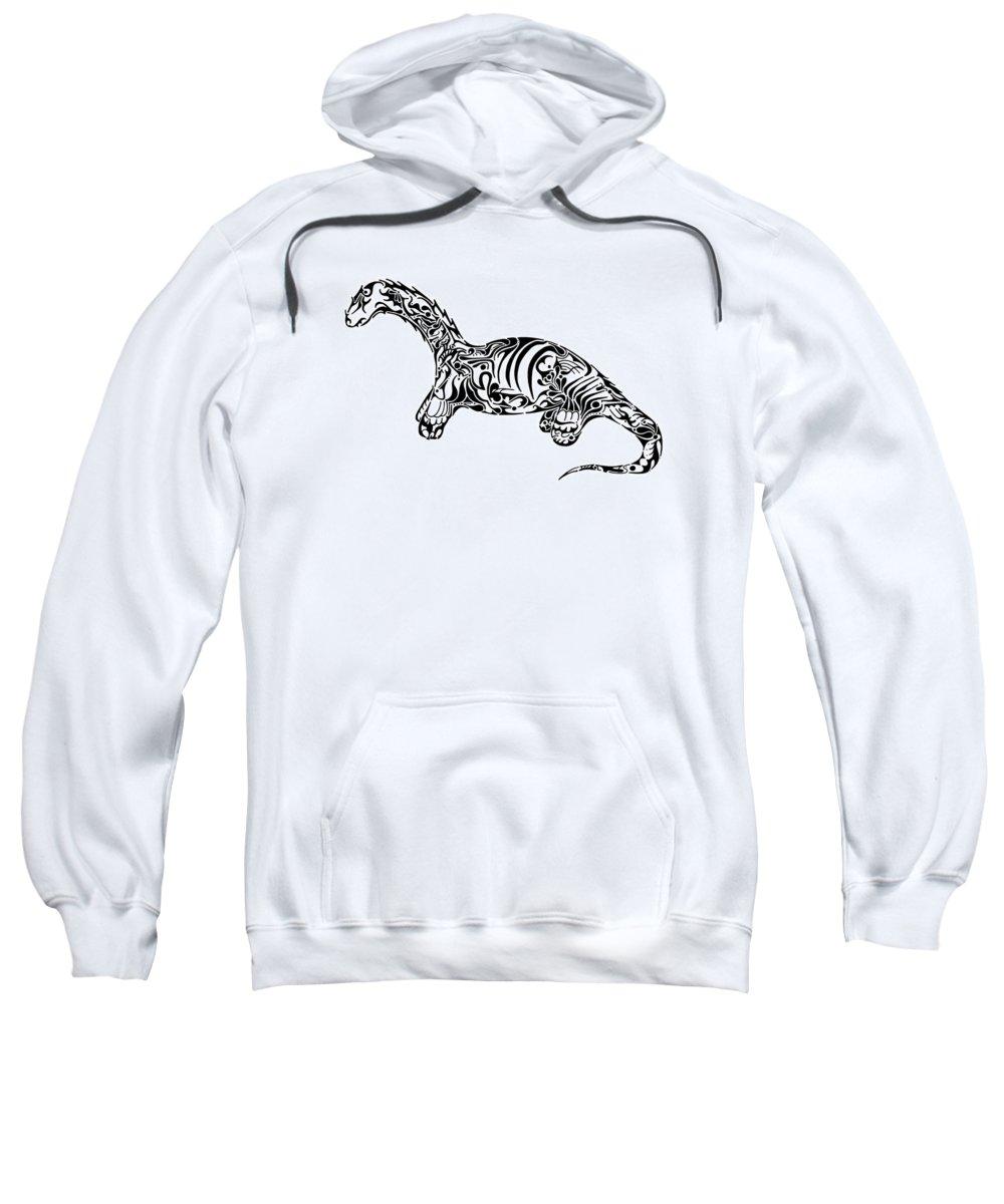 Dinosaur Sweatshirt featuring the drawing Brontosaurus by Thomas Coleman