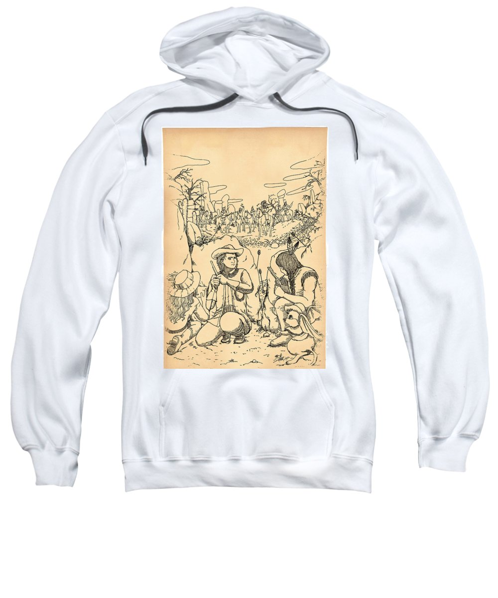 Art By Duy Truong Sweatshirt featuring the drawing Buffalo Bill And Standing Buffalo by Reynold Jay