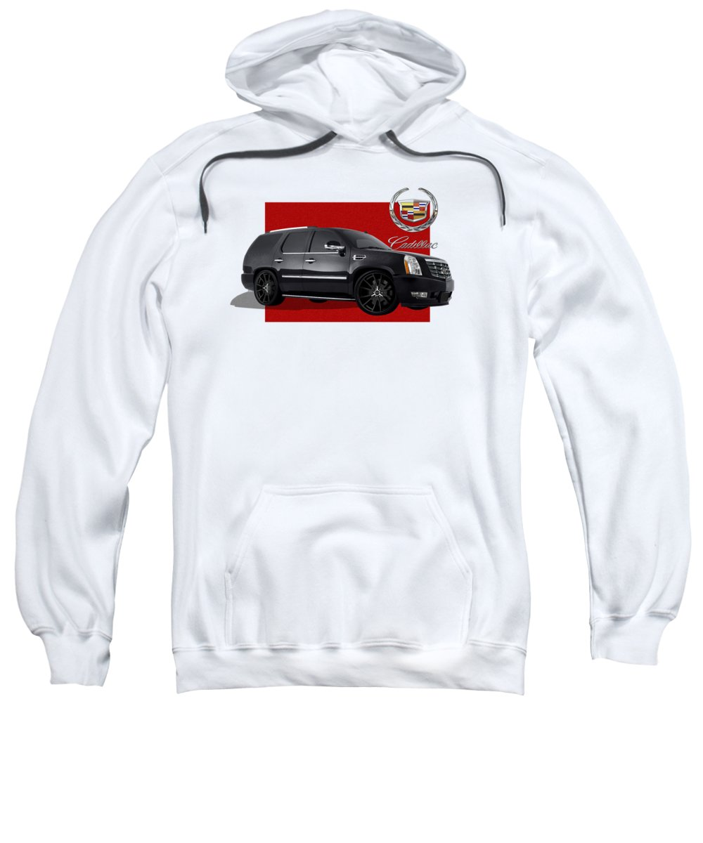�cadillac� By Serge Averbukh Sweatshirt featuring the photograph Cadillac Escalade With 3 D Badge by Serge Averbukh