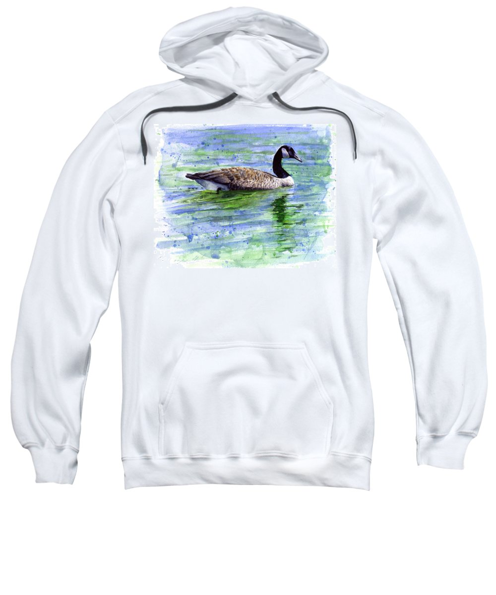 Bird Sweatshirt featuring the painting Canada Goose by John D Benson