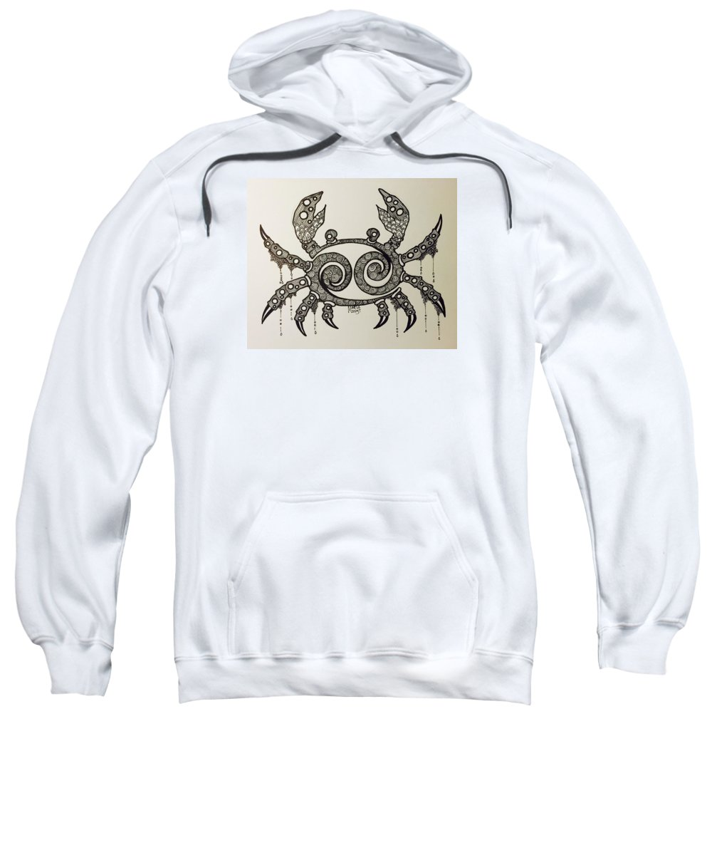 Cancer Zodiac Sweatshirt featuring the drawing Cancer by Maria Leah Comillas