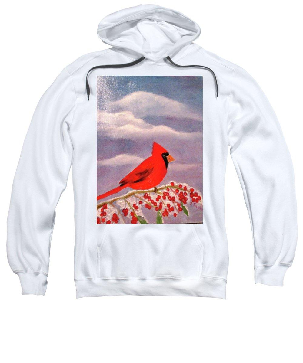 Red Sweatshirt featuring the painting Cardinal Christmas by Reta Haube