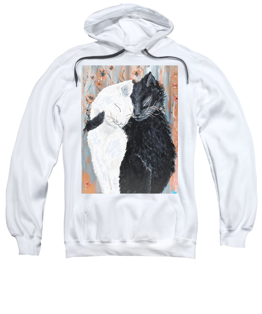 Love Cat Poppies Black White Animal Life Pet Art Painting Gray Golden Acrylic Canvas Sweatshirt featuring the painting Cats In Love by Medea Ioseliani