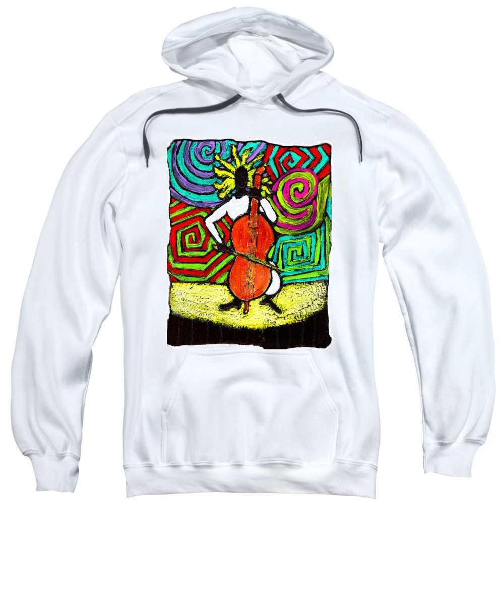 Music Sweatshirt featuring the painting Cello Soloist by Wayne Potrafka