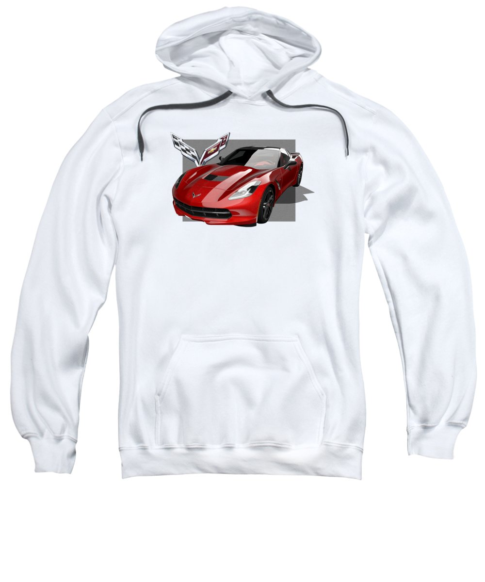 �chevrolet Corvette� By Serge Averbukh Sweatshirt featuring the photograph Chevrolet Corvette C 7 Stingray With 3 D Badge by Serge Averbukh