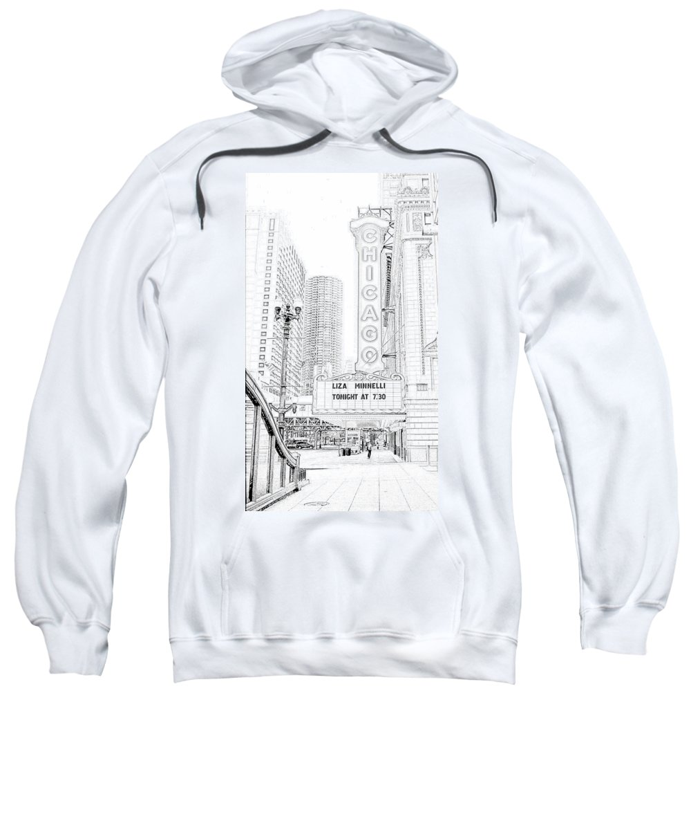 Chicago Theater Marquee Sweatshirt featuring the photograph Chicago Theater Marquee by Ely Arsha