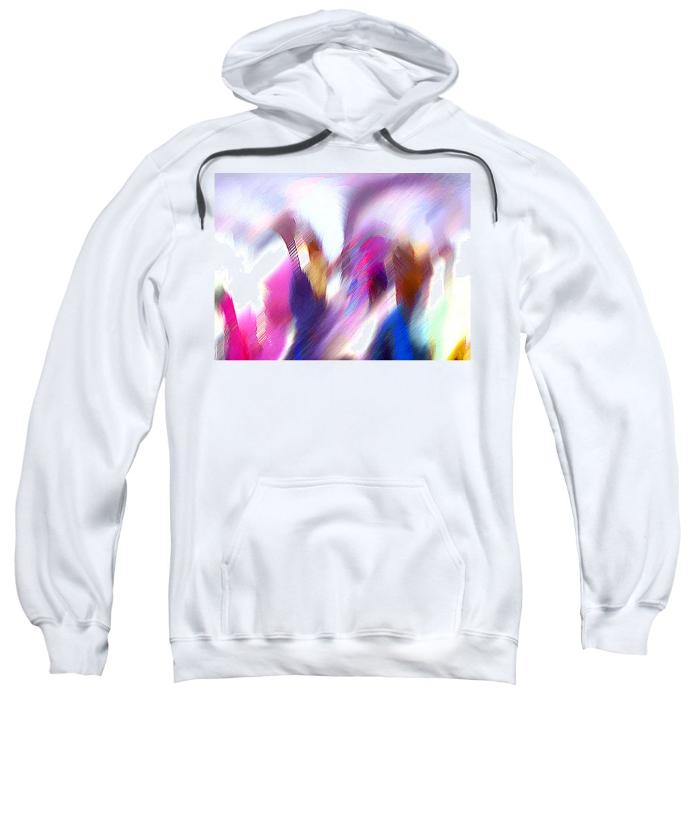 Digital Media Sweatshirt featuring the painting Color Dance by Anil Nene