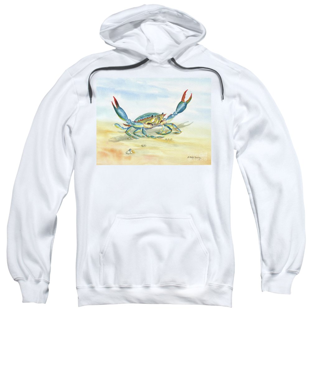 Colorful Blue Crab Sweatshirt featuring the painting Colorful Blue Crab by Melly Terpening