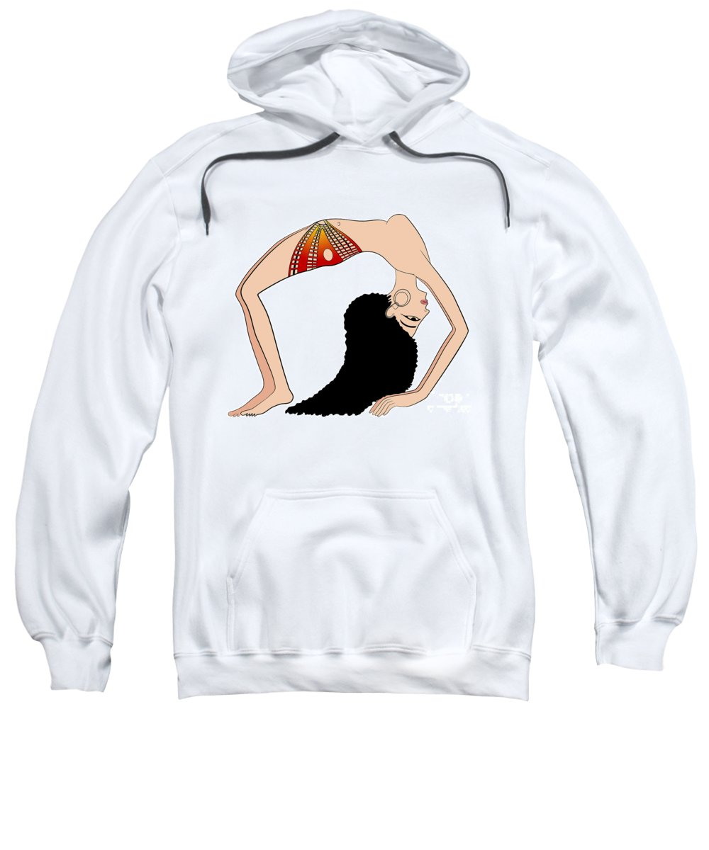 Isolated Sweatshirt featuring the drawing dancer of Ancient Egypt by Michal Boubin